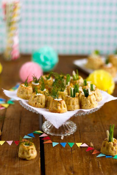 Zweierlei Herzhafte Mini Gugel mit Lachs oder Speck #partyappetizers