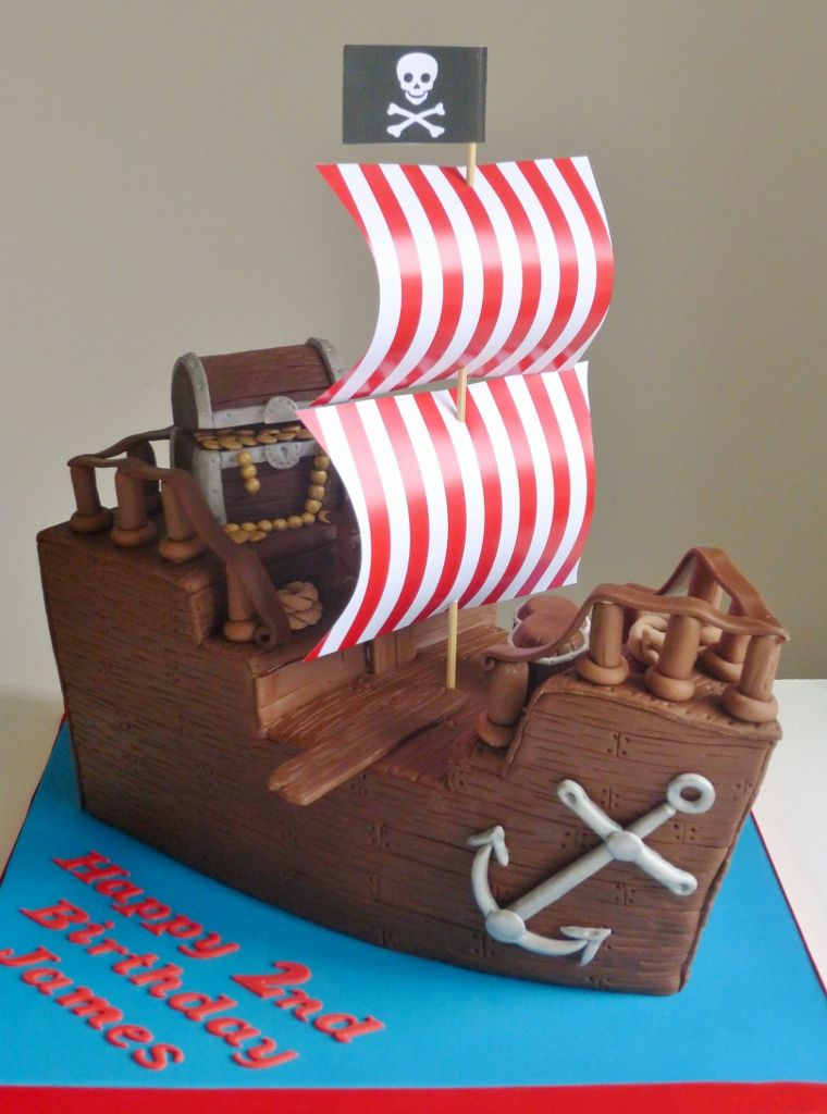 3d Pirate Ship Cake Complete With Treasure Chest Plank Barrels