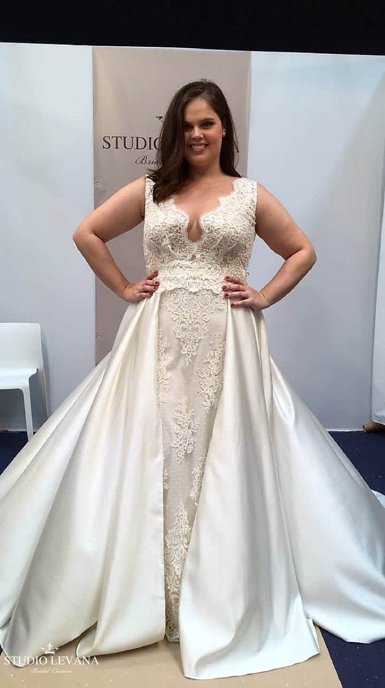 b3462036252 Chiara plus size lace wedding gown with satin overskirt. Studio Levana