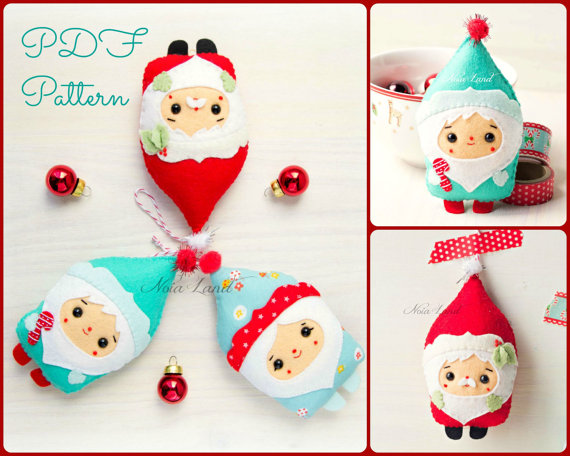 PDF Pattern. Christmas Santa & Elf ornaments pattern ...