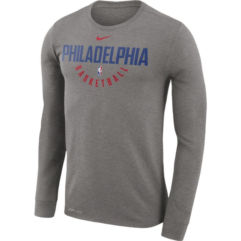 4fbc3bd21e1576 Nike Men s Philadelphia 76ers Dri-FIT Grey Practice Long Sleeve Shirt