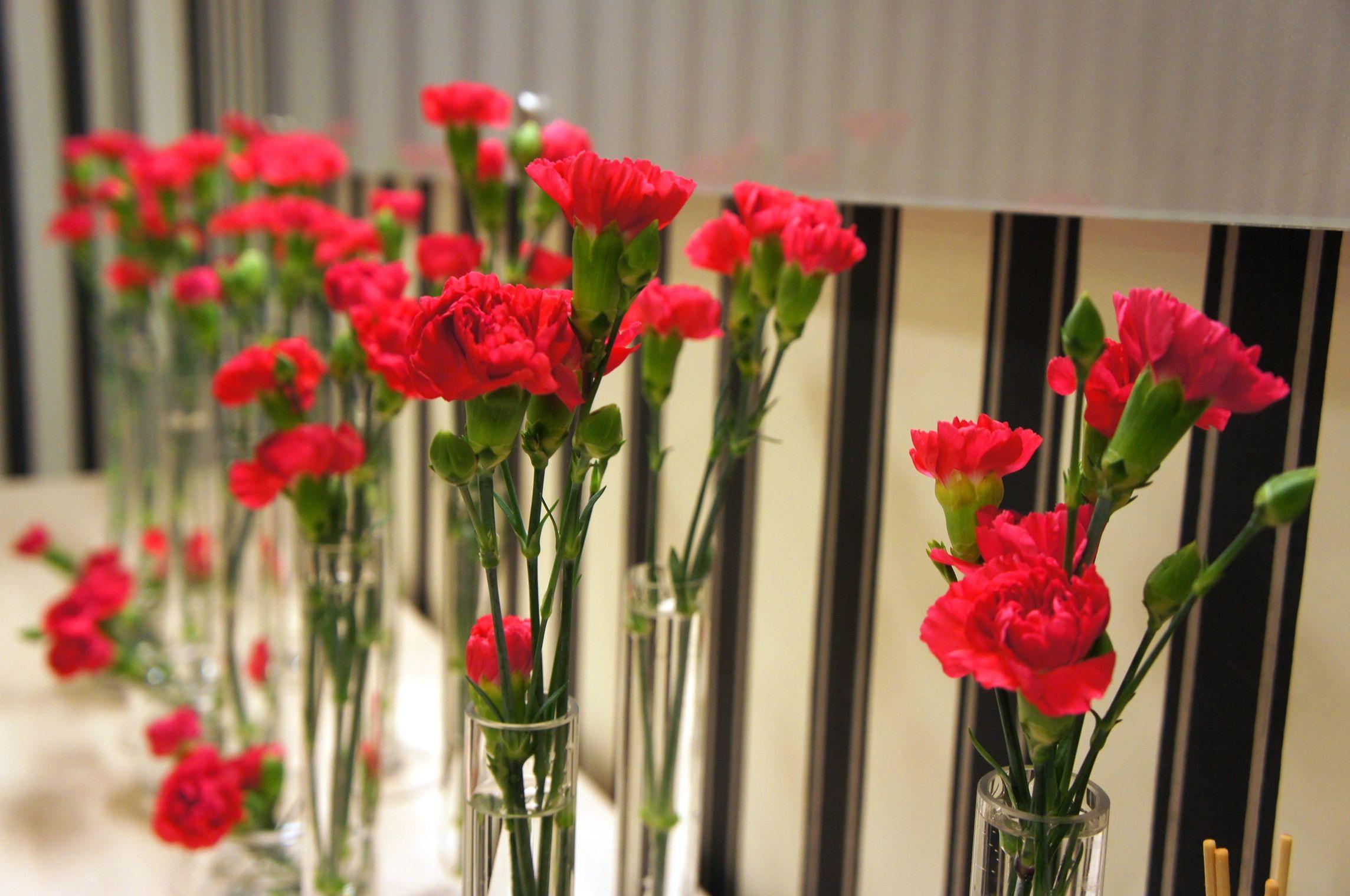 Gozdziki Galazkowe W Szklanych Menzurkach Jako Dekoracja Recepcji Flowers Carnations Wedding