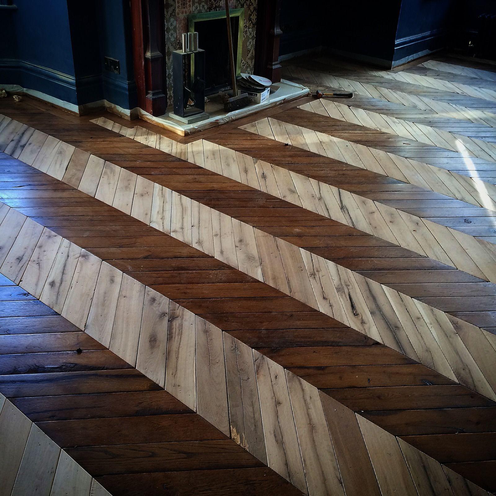 Reclaimed French oak Chevron parquet flooring