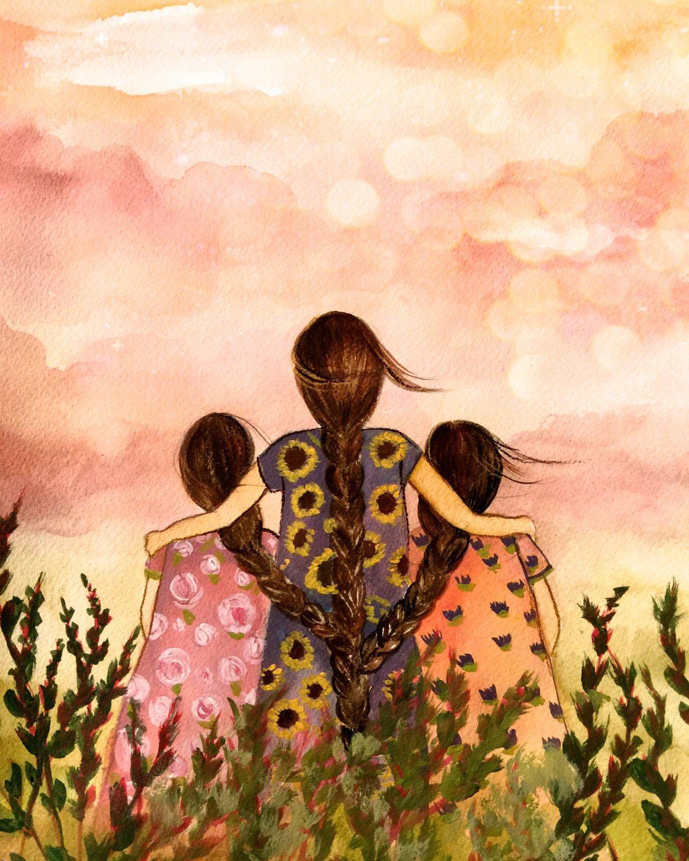 Madre o hermana con dos hermanas hijas dibujos dibujo - Polveros en dos hermanas ...