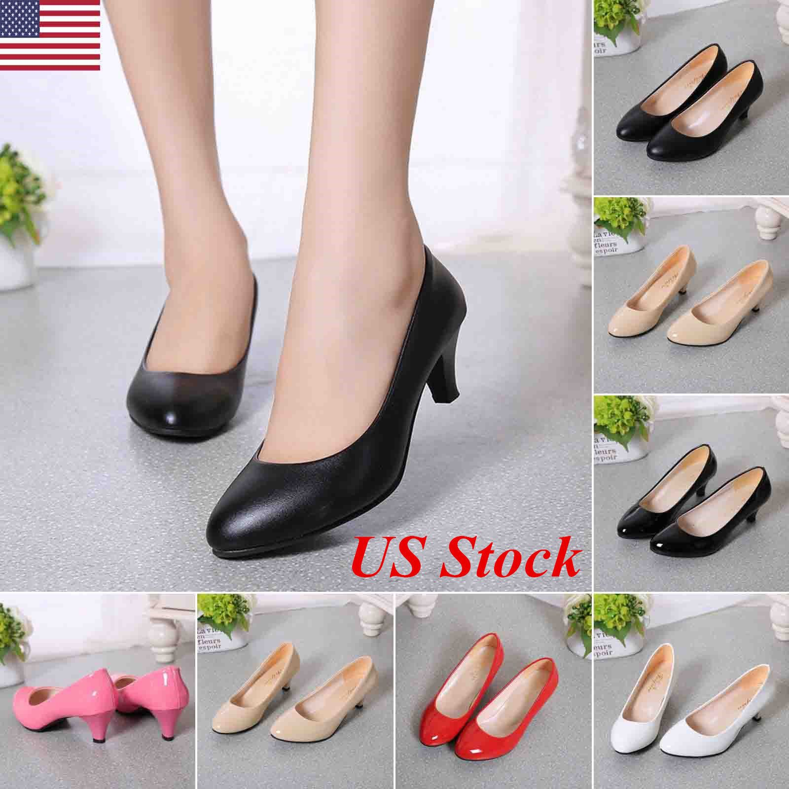 Low heel dress shoes for wedding  Awesome Awesome US Womens Low Mid High Heel Pointed Toe Pumps Work
