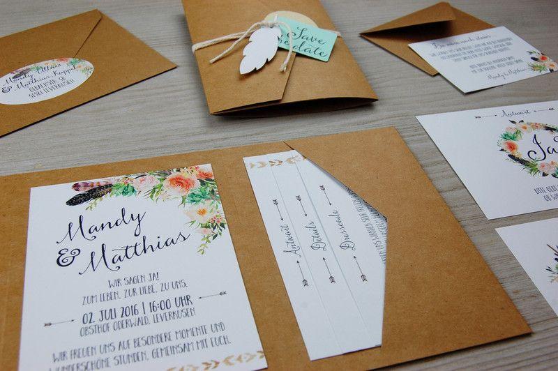 POCKETFOLD L 50x Einladungskarten Set Hochzeit