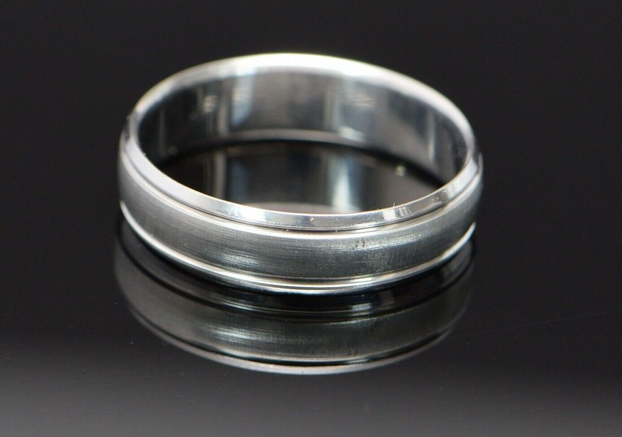 10k White Gold Florentine Finish Band With Polished Edges Size 12 5 White Gold Ring Size Rare Jewelry
