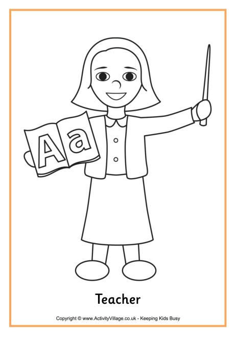 Teacher colouring page 4 | Coloring pages for girls ...