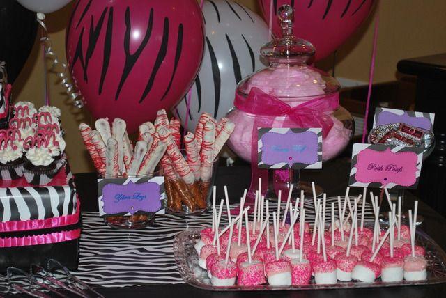 Pink Zebra Spa Birthday Party Ideas Zebra party foods Zebra party