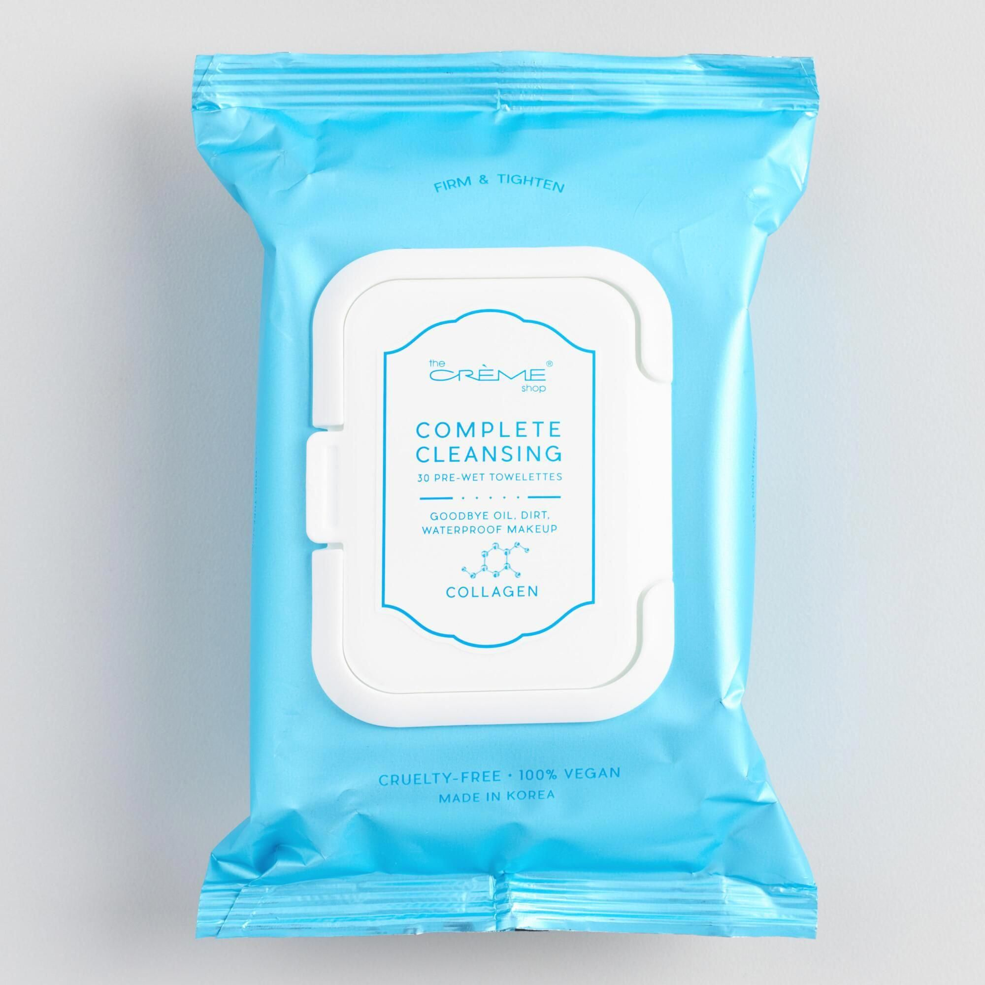 Creme Shop Korean Beauty Collagen Complete Cleansing Wipes By World Market Bestbeautytips Facial Wipes Cleansing Wipes Korean Beauty Routine