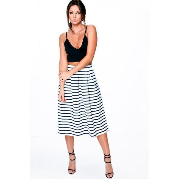 Boohoo Night Aviela Box Pleat Striped Skater Skirt ($26) ❤ liked on Polyvore featuring skirts, navy, pleated skirt, navy blue skater skirt, flared midi skirt, navy pleated skirt and midi skirt