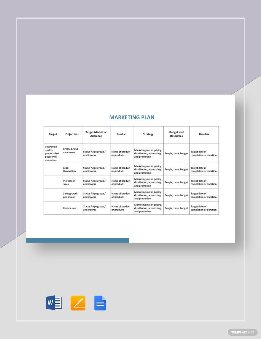 Simple Marketing Plan Template Word Fresh 32 Free Marketing Strategy Planning Templat Marketing Plan Template Business Restaurant Marketing Plan Marketing Plan