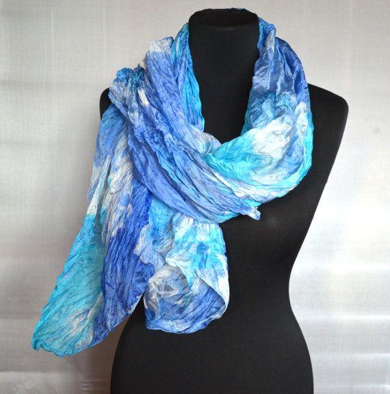 """blue silk Scarf, womans silk scarf, hand painted scarf Fashion Scarf-Shibori dyes Women Shawl  -Boho Scarf size 35"""" by 63"""" Ready to ship"""