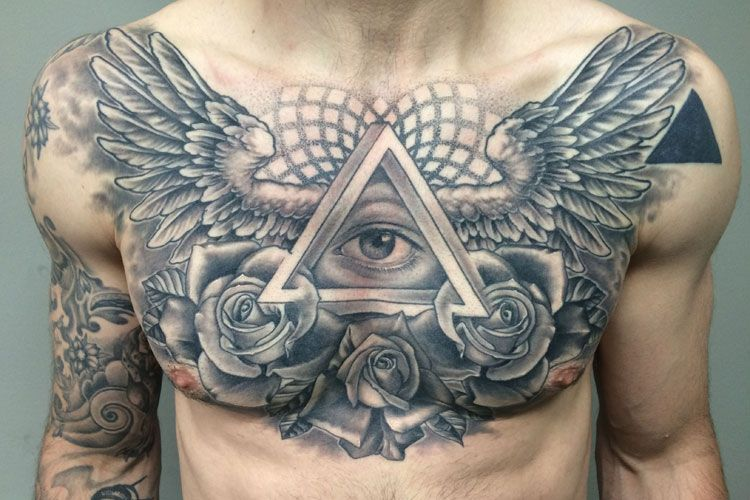 Heavily Tattooed Chest Tattoo Men Cool Chest Tattoos Chest Piece Tattoos