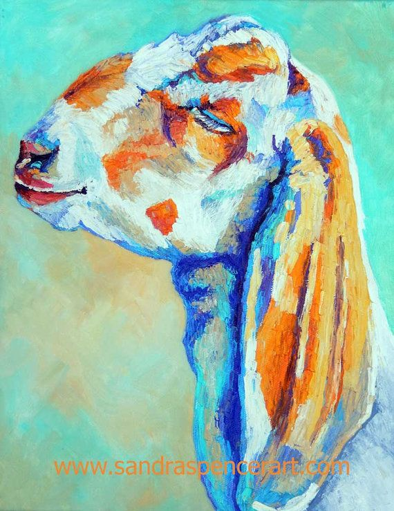 Original Nubian Goat Oil Painting 11 X14 Oh Happy Day With
