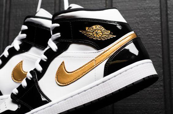 Gold Baby Air Jordan 1 Mid Gold Sneaker Kopf Sneaker