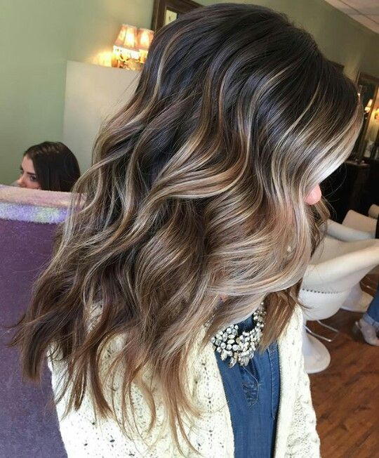 A Few Balayaged Hilights Through Darker Hair Wedding Hair