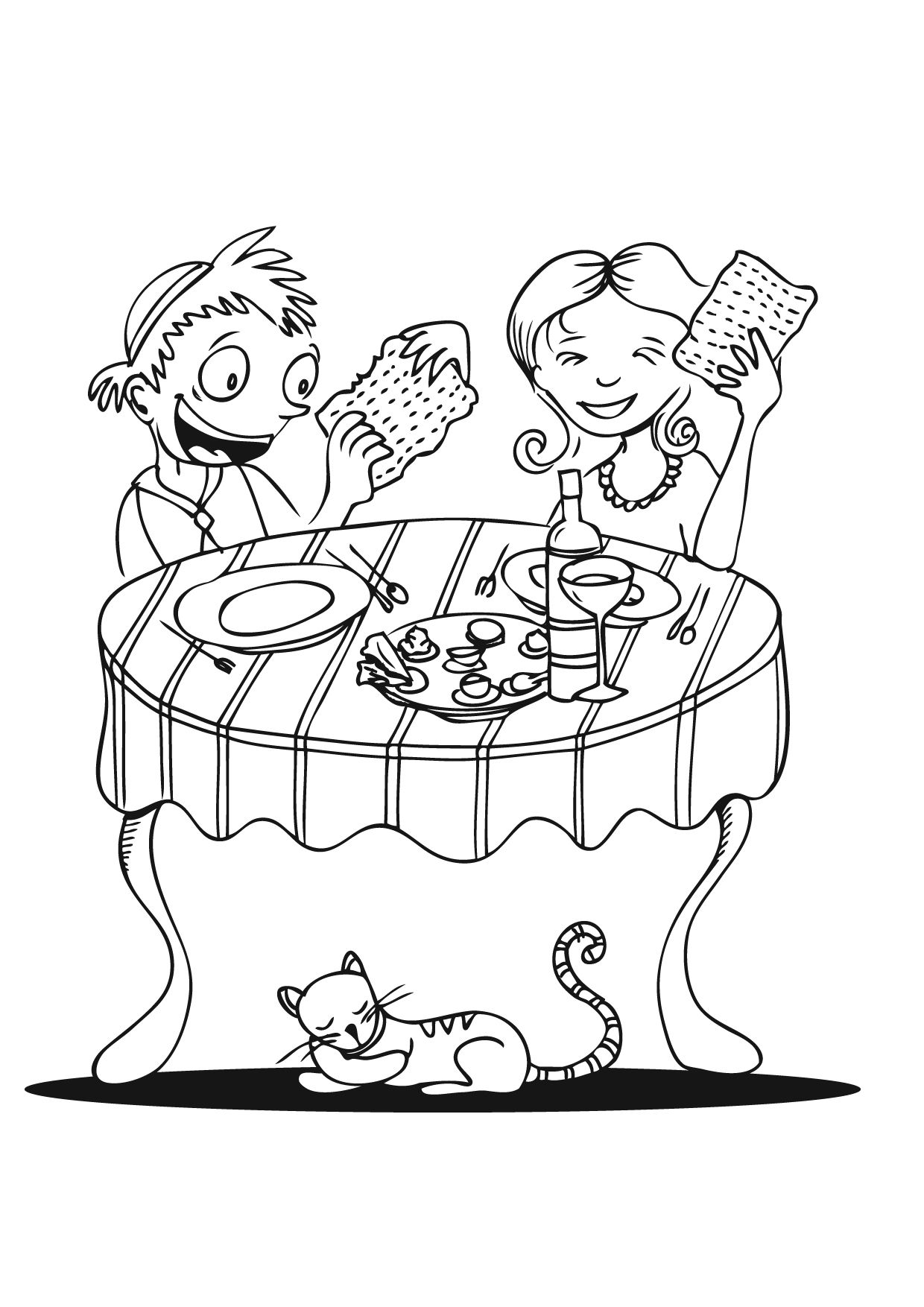 Coloring Page: Eating Matza (click on picture to print ...