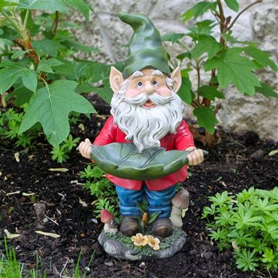 Francis Garden Gnome Holding Leaf Bird Feeder. #gnome #lawngnome #birdfeeder