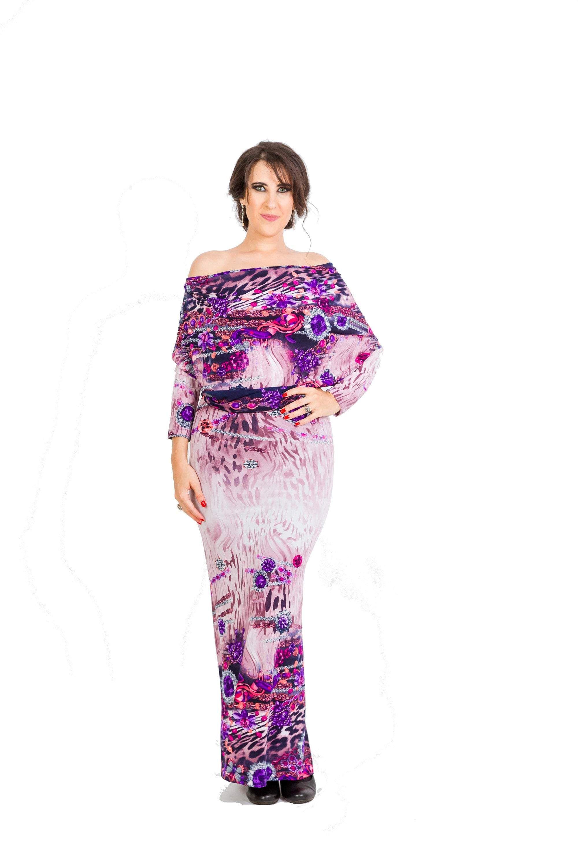 Convertible Off Shoulder Purple Diamonds Maxi Dress