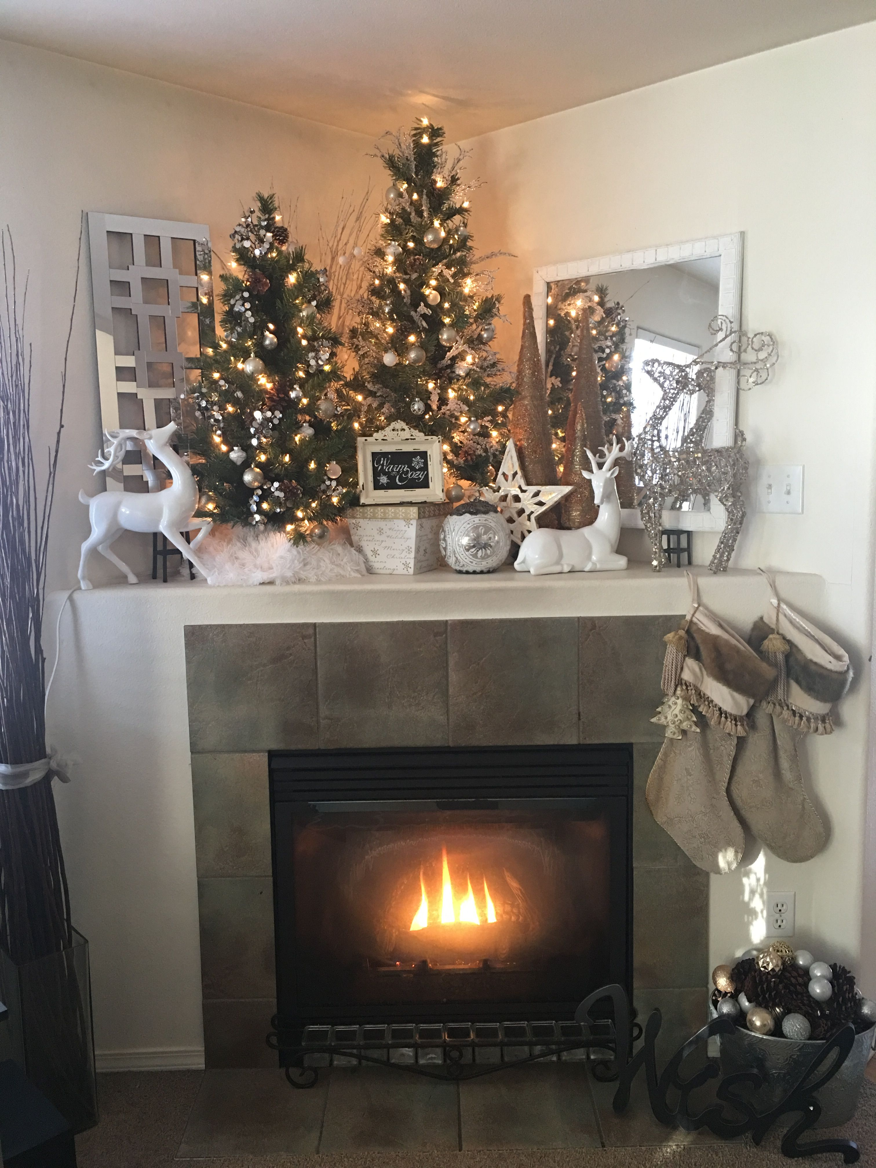 Warm And Cozy Corner Mantle Christmas Decor Reindeer White Silver Gold Christmas Fireplace Decor Christmas Mantle Decor Corner Fireplace Decor