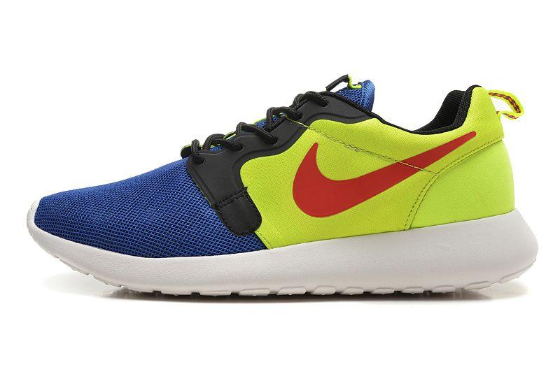 Nike Roshe Run Hyperfuse Heren Nederland Blauw Fluorescent Groen Rood