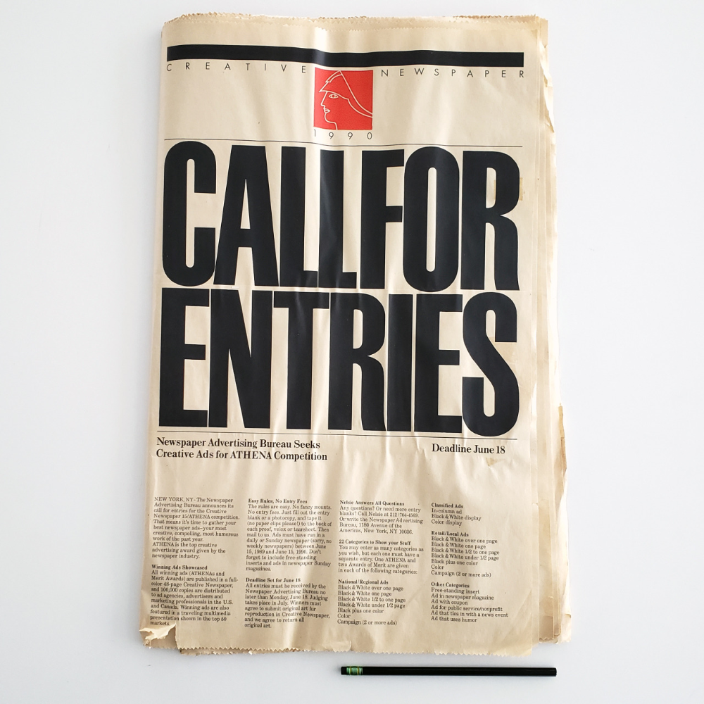 The Newspaper Advertising Bureau S Creative Newspaper 15 Athena Competition Call For Entries Athena Award To Honor Ex Vignelli Poster Text Typography Letters