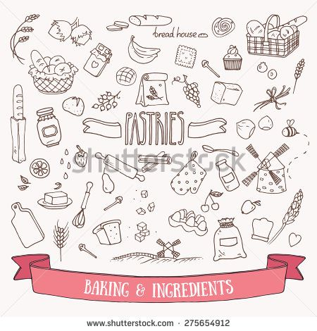 bread doodle bread pastry and baking ingredients doodle set hand 7919