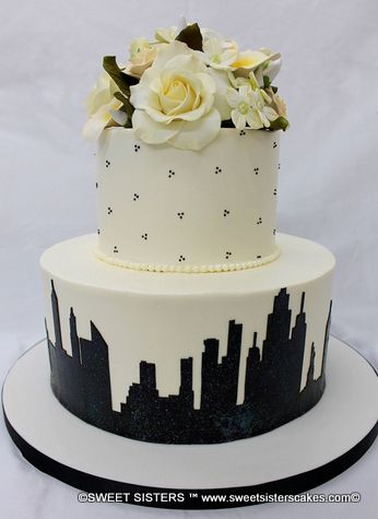 A Birthday Cake For Someone In New York State Of Mind Desserts Cakes NYC City NewYork NewYorkCity Flowers Skyline SweetSisters