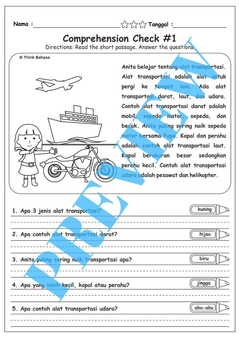 Bahasa Indonesia Reading Comprehension Check 2 No Prep Reading Comprehension English Worksheets For Kids Comprehension [ 1123 x 794 Pixel ]