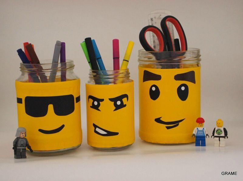 recycler ses bocaux en pots crayons l go bricolage pinterest l go detournement et adh sif. Black Bedroom Furniture Sets. Home Design Ideas