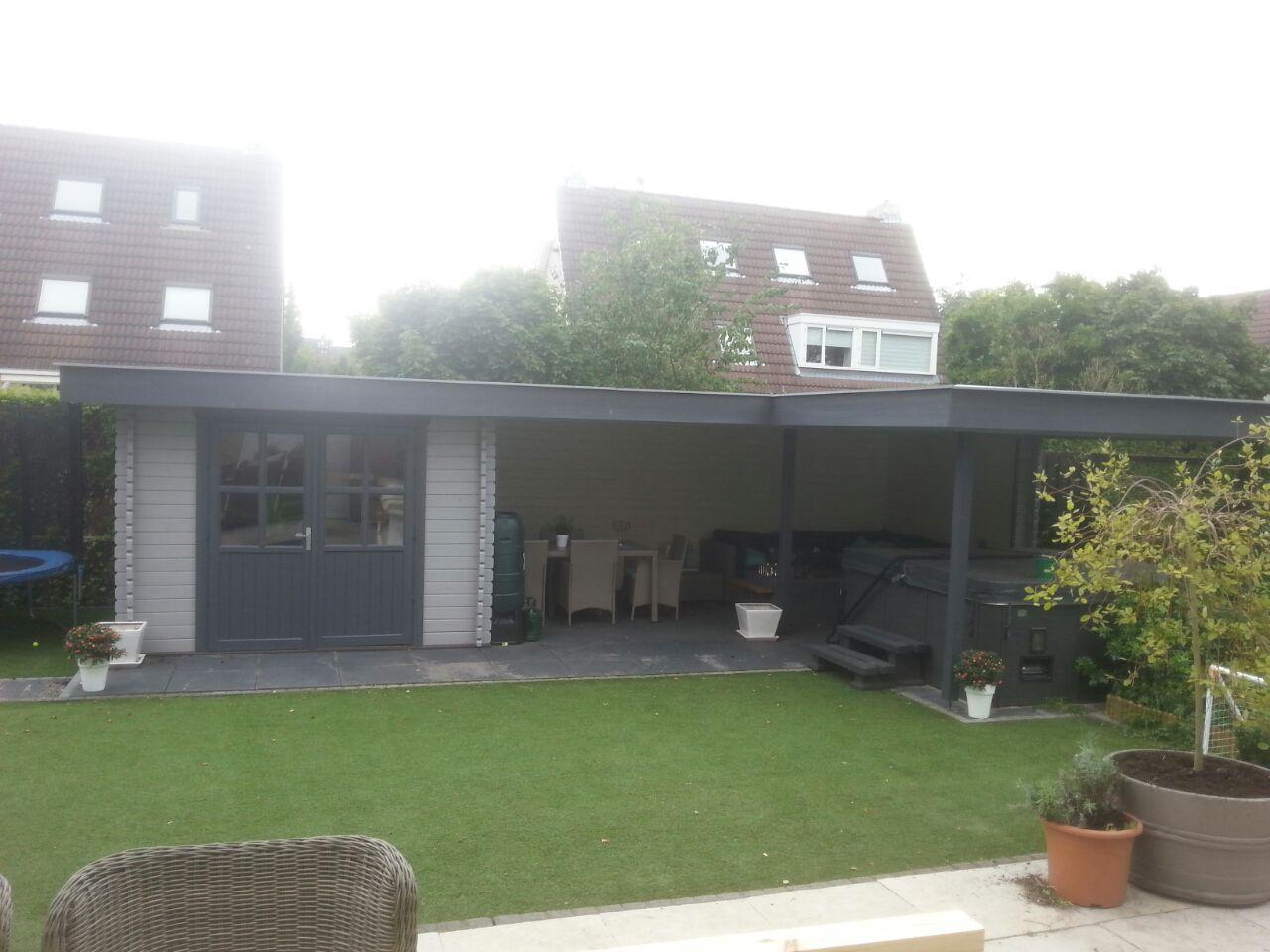 M28b luifel met hoek 300x300 500x300ad zd 300x300 moderne tuinhuis blokhut met plat dak en - Pergola met dak ...
