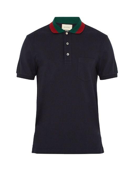 908a4e3a9a1af7 Contrast Collar · Polo Ralph Lauren · GUCCI Stretch-Cotton Piqué Polo Shirt  in Navy Gucci Polo Shirt