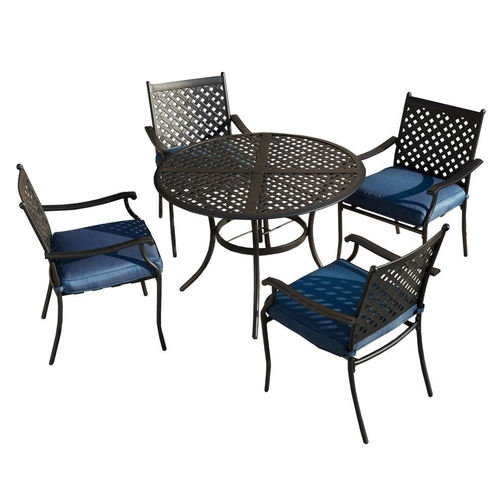 Patio Festival 10 Piece Metal Outdoor Dining Set with Blue Cushions ...