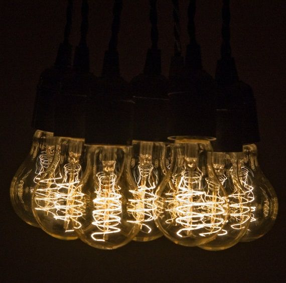 9 Pendant Hanging Edison Bulb Chandelier Custom Built On Etsy Lightbulbs