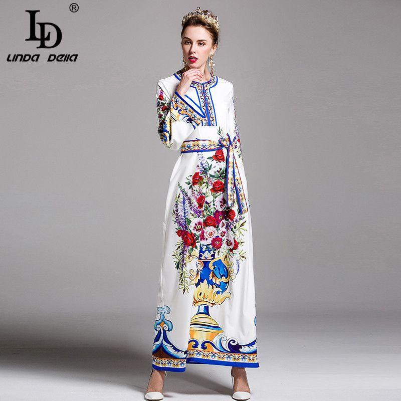 a9eb51ed5c Summer New Fashion Runway Maxi Dress Women s Gorgeous Flower Floral Print  Beach Casual Boho Loose Long Dress