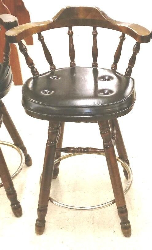 Swivel Captainu0027s Style Wooden Chair Bar Stool Vintage