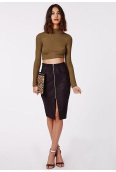 Jazleen Suede Zip Front Midi Skirt Black