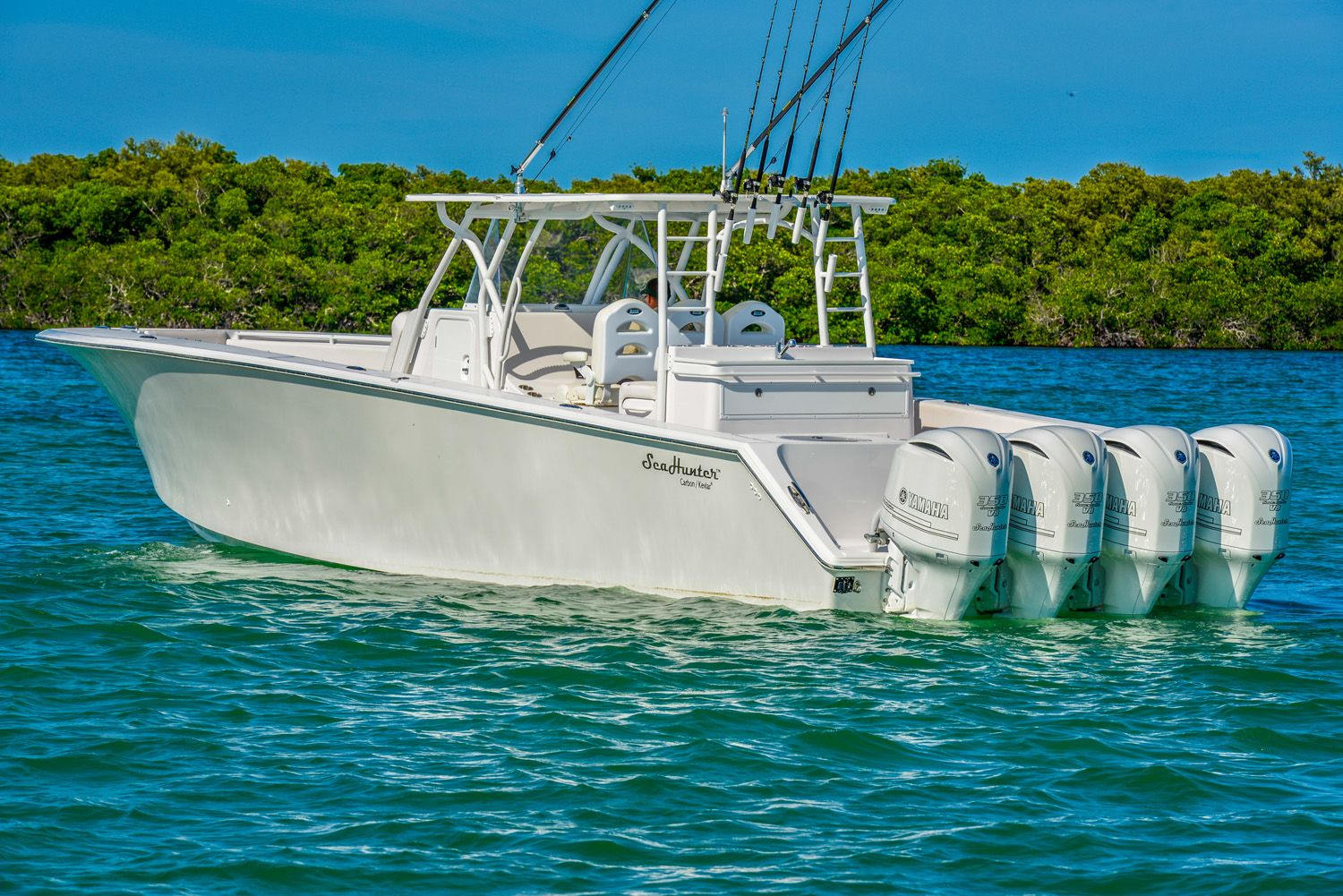 SeaHunter Carbon Fiber Kevlar Tournament 45 Foot Offshore Fishing Boat   45' Center Console Outboard Fishing Boat