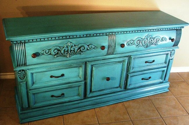Turquoise Dresser Glazed Black Before After Turquoise