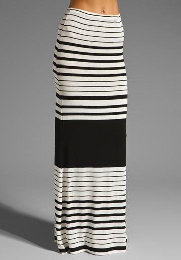 Paxton Skirt in Black Stripe Jersey