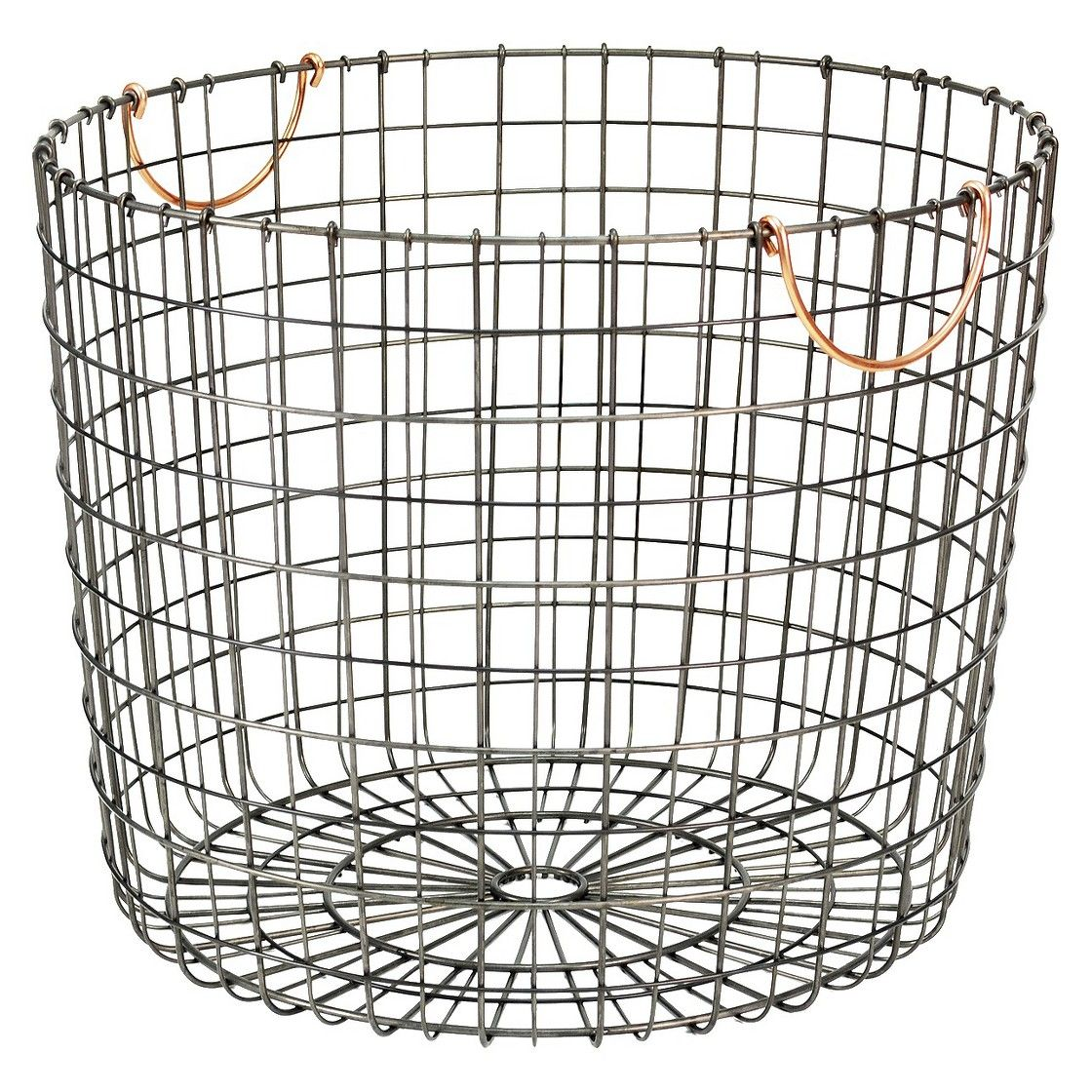 Threshold antique pewter round bin w/ copper handle //for blankets ...