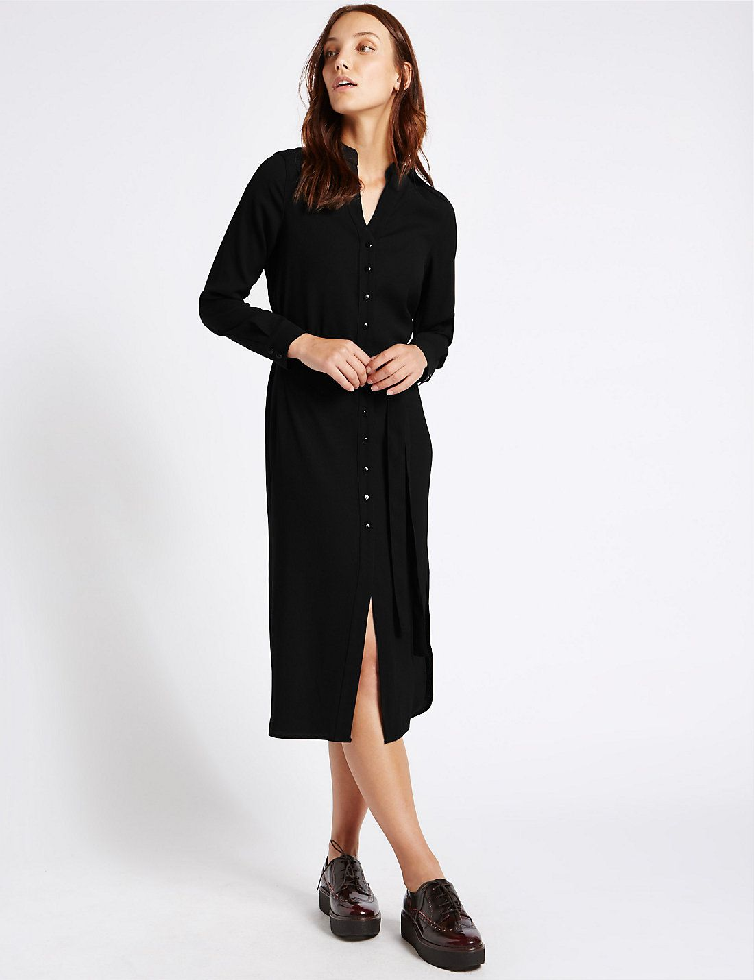 Long sleeve shirt midi dress with belt midi dresses and workwear