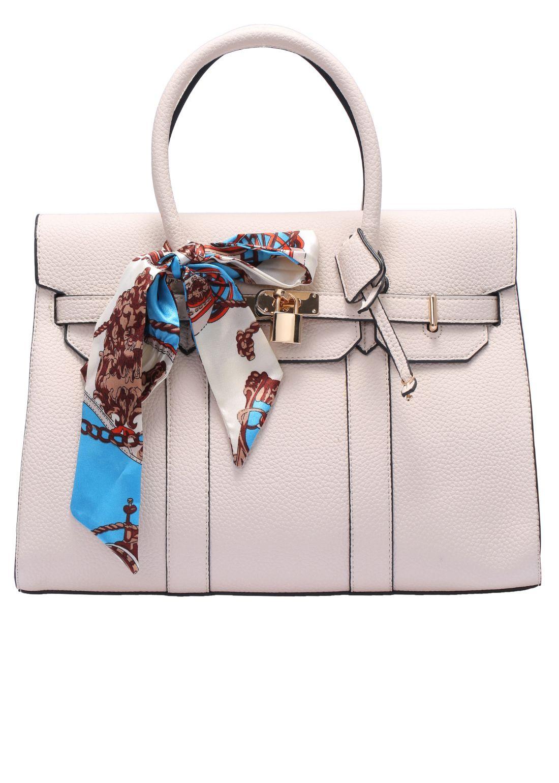 Beige Bow Embellished Lock Bag -SheIn(Sheinside)