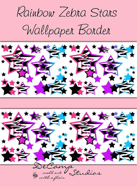 Rainbow zebra animal print star wallpaper border wall decals for teen girls room or childrens bedroom decor abstract and modern art home decor