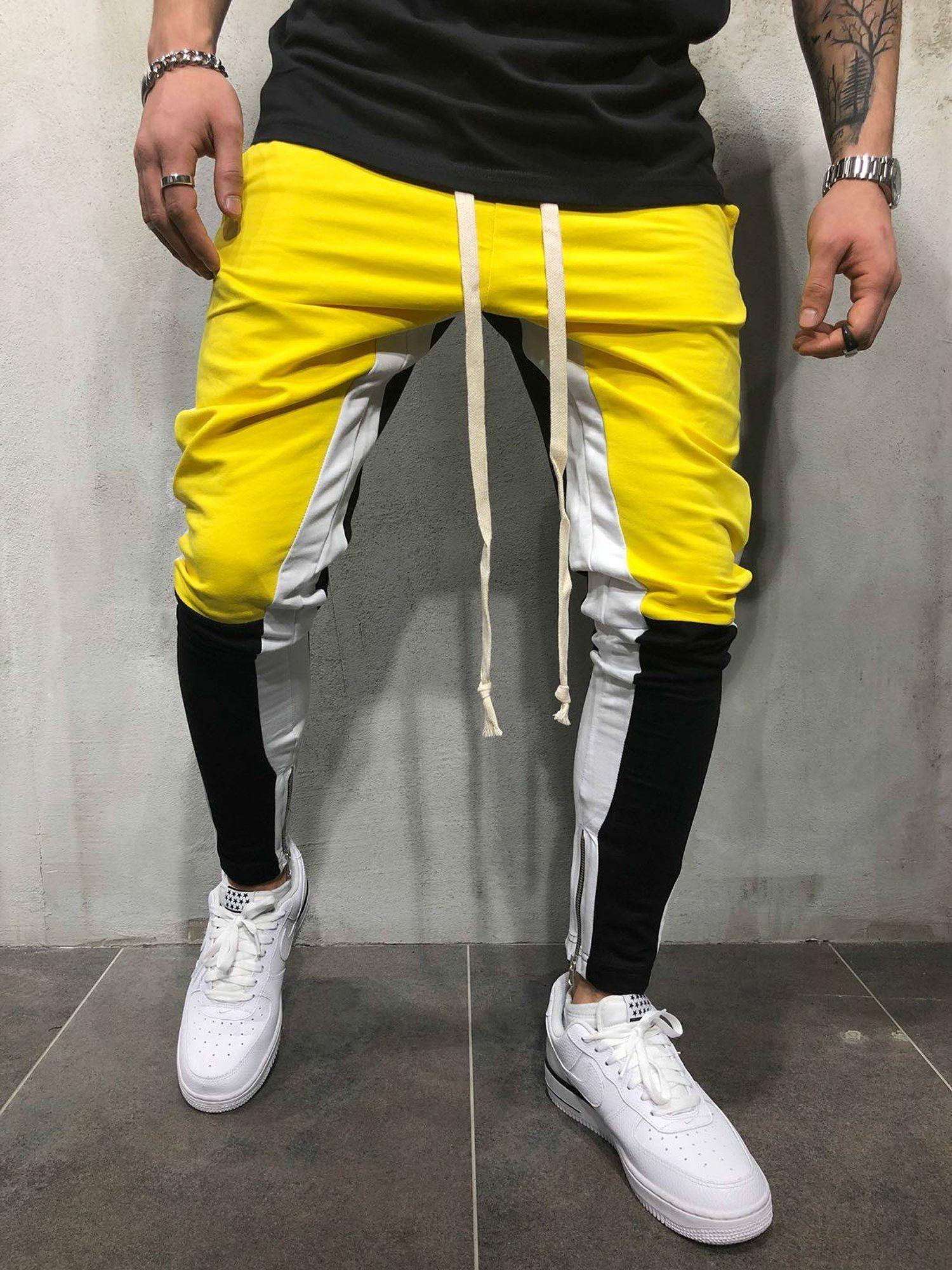 20b7fb99e5 Men Slim Fit Casual Tricolor Sweatpants Joggers - Yellow 3710 ...