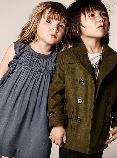 Ruched cotton dresses for girls and cashmere coats for boys in the Burberry Autumn/Winter 2014 childrenswear collection