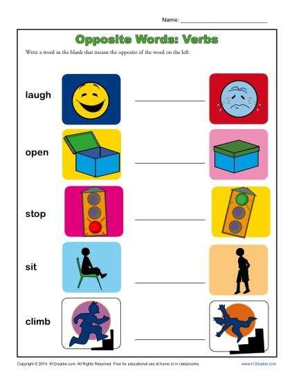 Kindergarten antonym worksheet opposite words verbs also the best images on pinterest rh