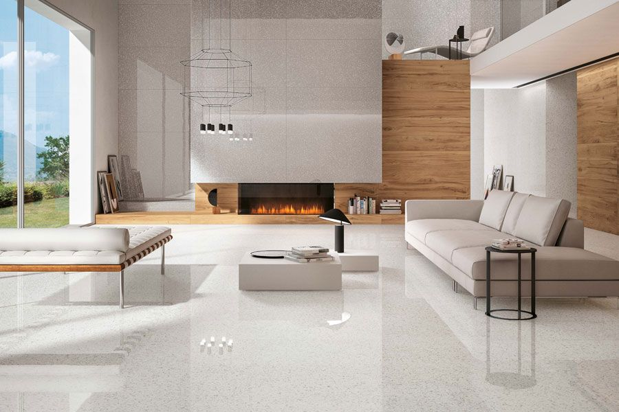 Floor Tile Designs For Living Rooms Prepossessing Porcelain Tiles Inspiredvenetian Terrazzo For Modern Living Design Decoration