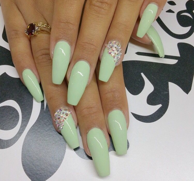 Pastel Green Acrylic Nails Green Acrylic Nails Green Nails Pretty Nail Colors
